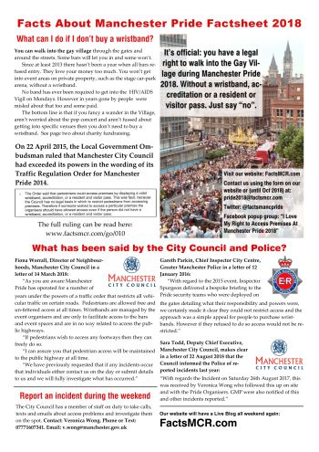 Our 2018 factsheet about access during Manchester Pride