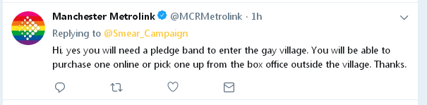 Misled about Manchester Pride wristbands by Metrolink