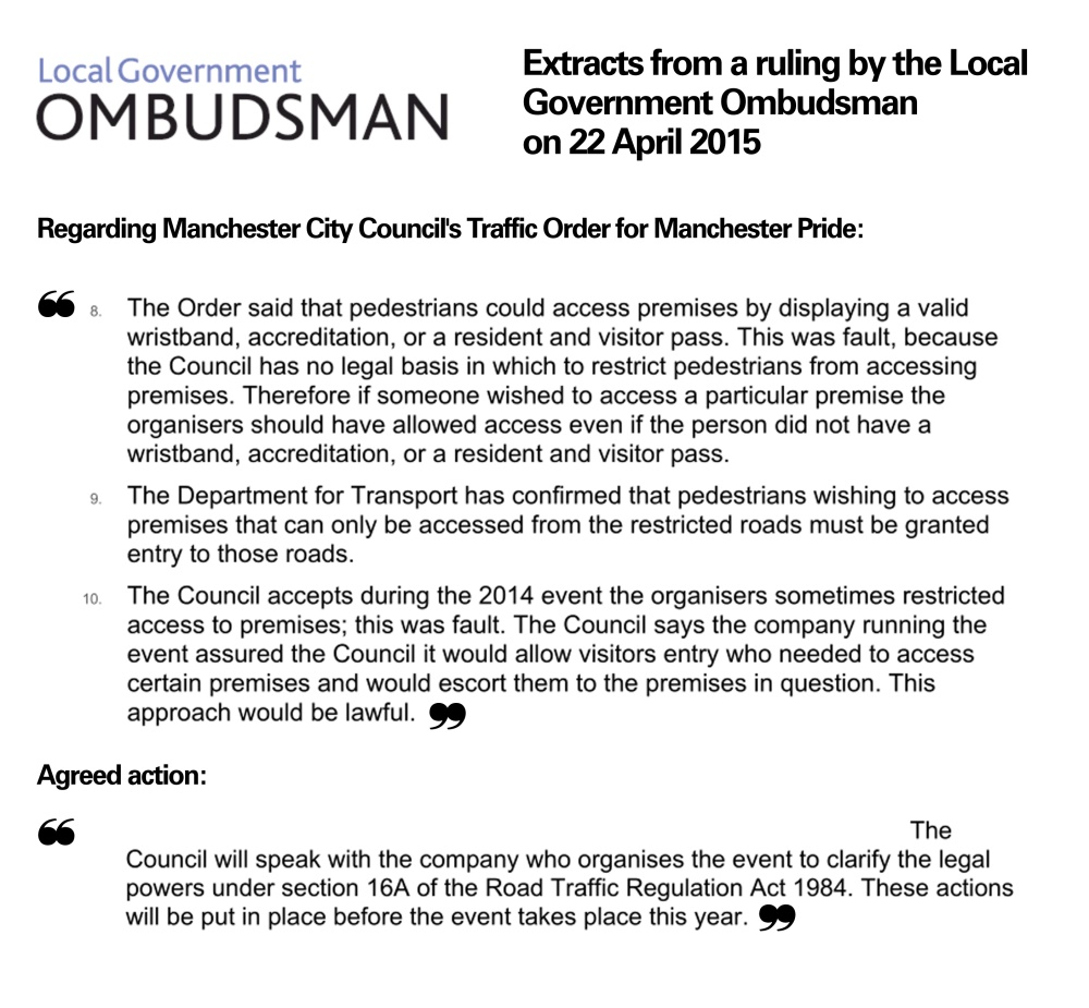 Quotes: the Local Government Ombudsman on access to Manchester Pride