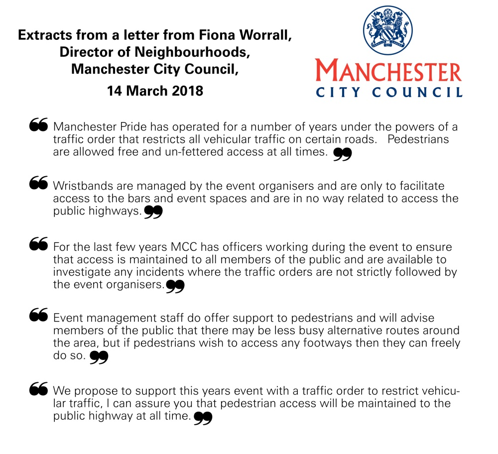 Quotes: Manchester City Council on access to Manchester Pride