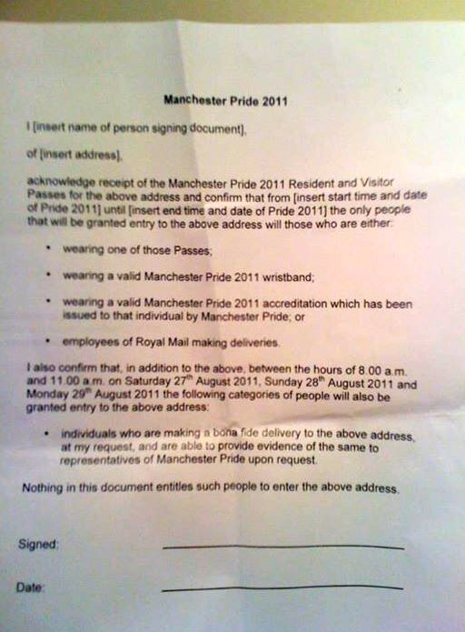 Leter to residents from Manchester Pride in 2011