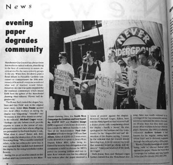 Scene Out, August 1989, reports on a homophobic article in the Manchester Evening News and the subsequent protest.